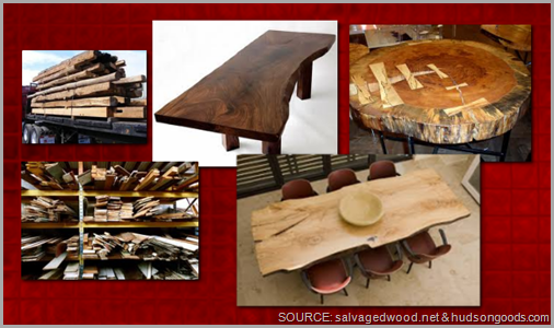 Reclaimed wood is versatile and beautiful. CLICK to enlarge image.