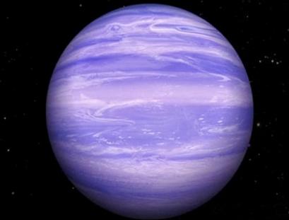 ilustração de exoplaneta com nuvens de gelo de água
