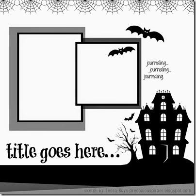 halloween layout sketch