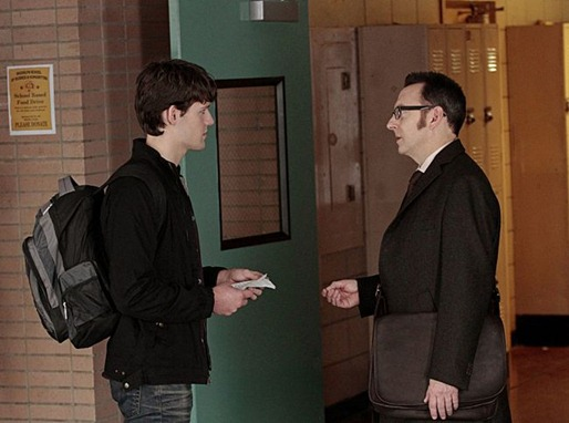 """2πR"" -- Finch (Michael Emerson, right) goes undercover at a high school as a substitute teacher to save a teen genius (Luke Kleintank, left) whose number has come up, on PERSON OF INTEREST, Thursday, Jan. 3 (9:00-10:00 PM ET/PT) on the CBS Television Network. Photo: Giovanni Rufino/Warner Bros. ©2012 Warner Bros. Television. All Rights Reserved."
