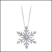 Round Diamond Snow Flakes Pendant in 14k White Gold