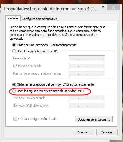 cambiar los DNS en Windows 8