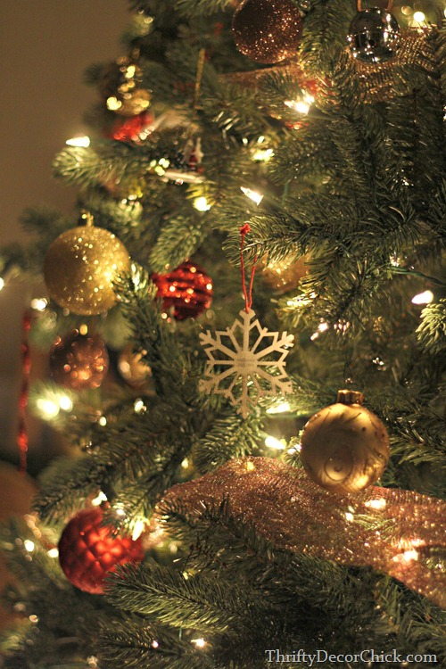 brown, gold and red ornaments