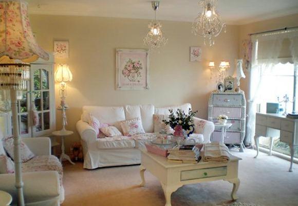 Salas blancas con estilo campestre