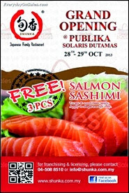 Shunka Japanese Fusion Food FREE Salmon Sashimi Promotion 2013 Malaysia Deals Offer Shopping EverydayOnSales