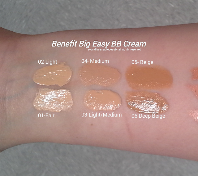 Benefit Big Easy BB Cream SPF 35 Review & Swatches of Shades 01 Fair, 02 Light, 03 Light/Medium, 04 Medium, 05 Beige, 06 Deep Beige