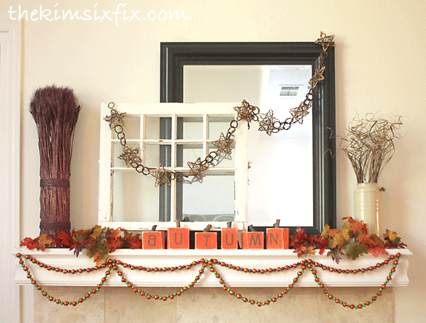Autumn fall harvest mantel
