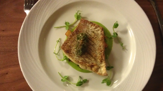 Sea Bream with pea puree, chorizo and potato
