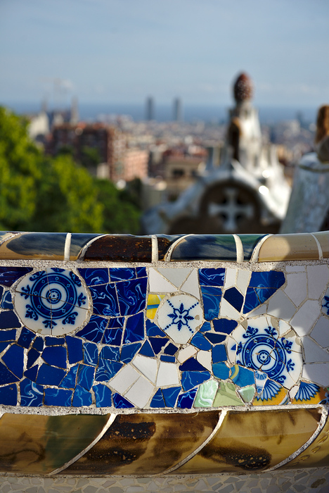 The colored benches of the Guell park, Barcelona, Spain.