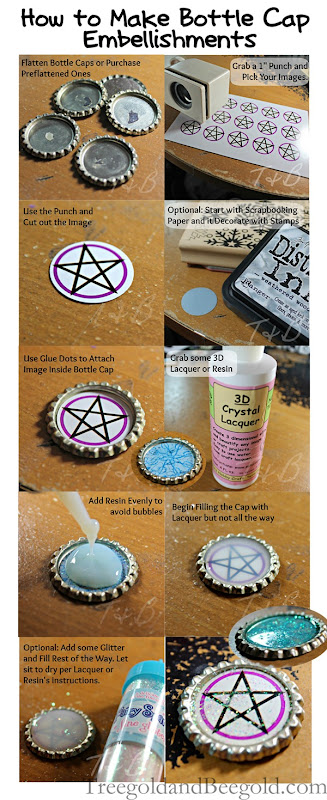 Bottle Cap Embellishment Tutorial by TreegoldandBeegold.com