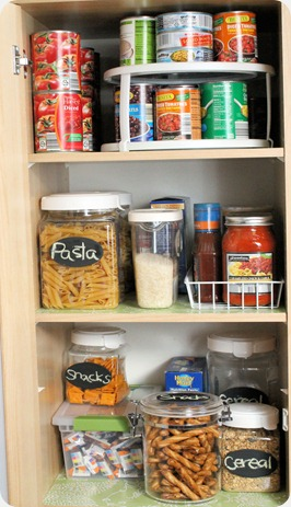 kitchen organization upper shelves