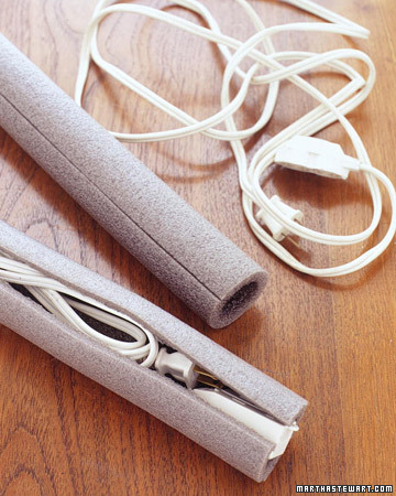 Eliminate the tangle of unused extension cords by storing each one in a piece of pipe insulation -- foam tubing with a slit along one side.