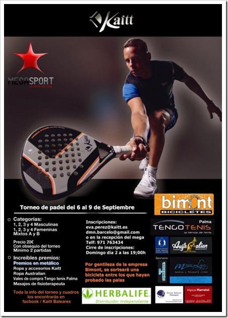 Torneo de Pádel KAITT en Palma Mallorca del 6 al 9 de septiembre en el Club Megasport.
