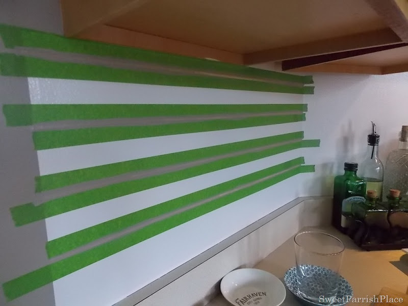 Faux painted subway tile