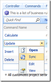 Sync context menu option the Project Browser.