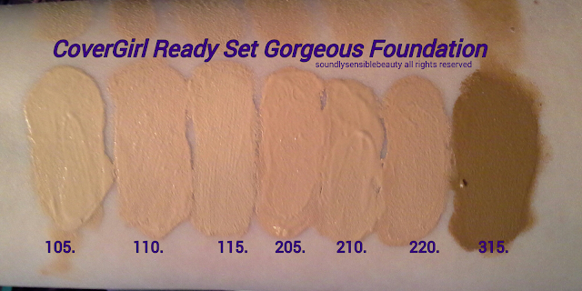 CoverGirl Ready Set Gorgeous Foundation Swatches of Shades 105, 110, 115, 205, 210, 220, 315,