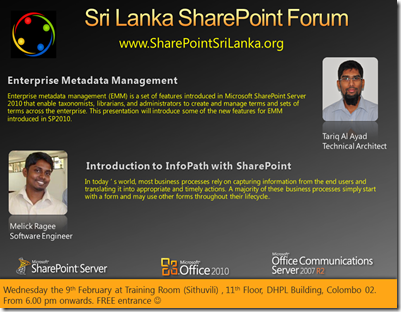 02 - SriLankaSharePointForum - 9th February 2011
