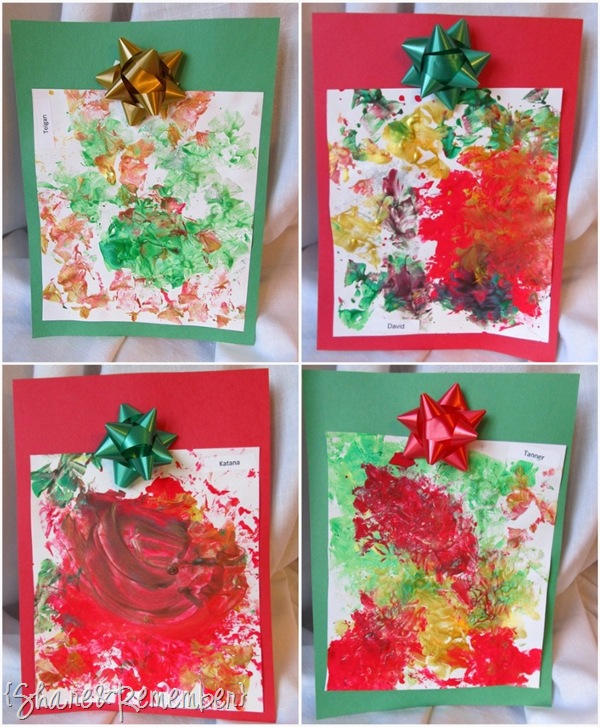 Christmas Holiday Bow Prints Process Art for Preschoolers