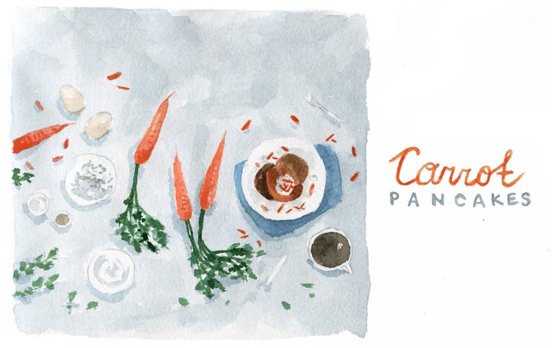 Carrot Pancakes - illustration by Dara Muscat
