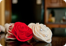 red and white rosettes