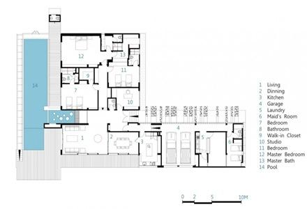 Planos casa de una planta con piscina arquitexs for Plano alberca