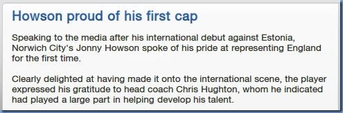 First cap for Howson