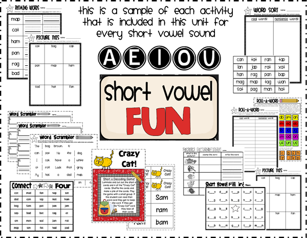 short vowel fun sneek peek