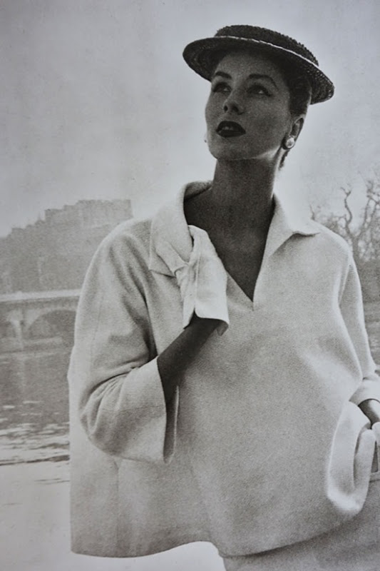 Balenciaga's white linen blouse from 1953 photographed by Louise Dahl-Wolfe, Allure by Diana Vreeland