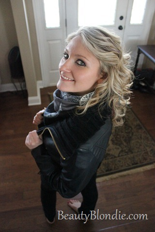 Black Leather Coat with a Grey Scarf and Big Curly Hair