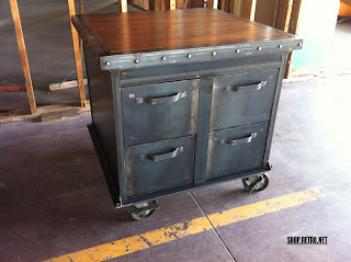 4 Drawer Ellis Filing Cabinet with riveted edge cherry top