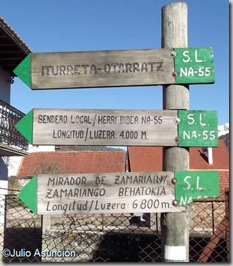 Poste indicativo de la ruta del mirador - Garaioa