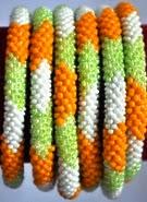 rollover bracelet orange green white