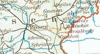 A close up of the Witkowo and Gnesen