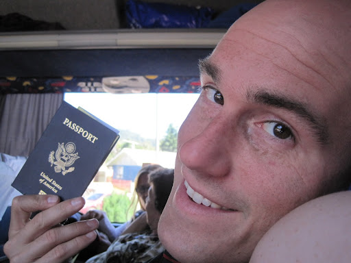Erik with his passport at the border.