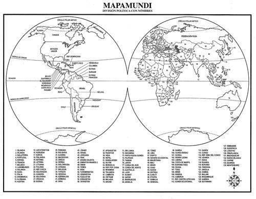 Mapamundi para colorear con nombres de continentes - Imagui