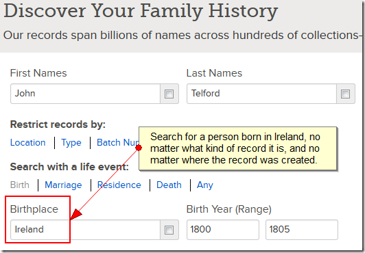 Search for a person born in Ireland, no matter what kind of record or where it was created.