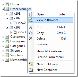 'View in Browser' context menu option for a page node will generate the project and open the relevant page in the default browser.