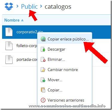 Ubicación del enlace público de un archivo en Dropbox (URL para compartir dicho archivo, enviarlo por mail, etc...).