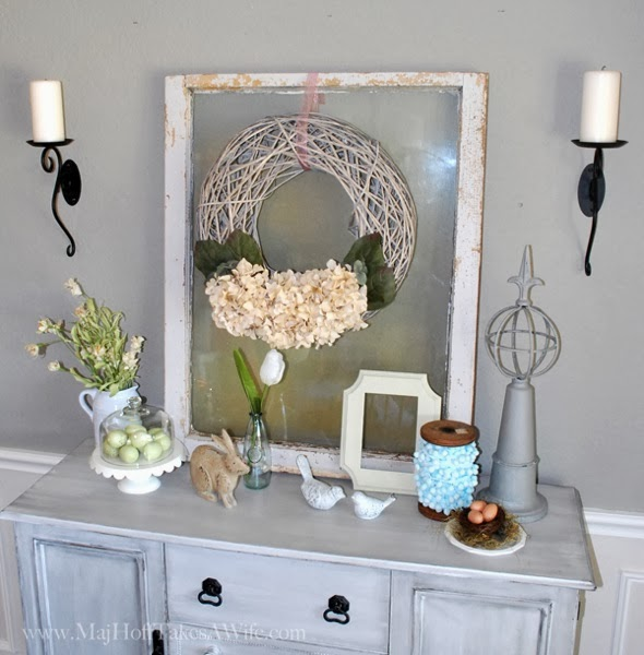 Spring Buffet with Vintage window and soft pastels