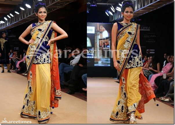 Yellow_Brown_Dual_Color_Shimmer_Saree