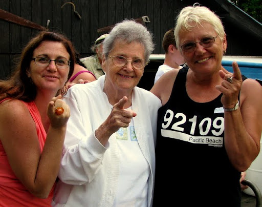 To my Mom (Peggy Ann): Me, Aunt Anne and Mary shaking our finger at you for NOT going to the family reunion!