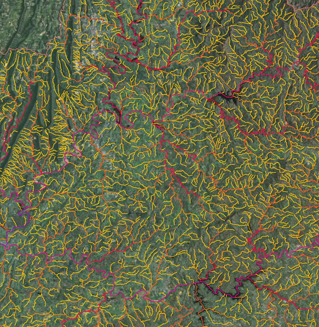 A significant amount of carbon in land is leaking into streams and rivers, then to the atmosphere. Scientists added a harmless titanium dioxide tracer to streams and rivers to track carbon flow. Stream lines form a tangled web in this image derived from a set of data on water flow. David Butman, Yale University, 2011