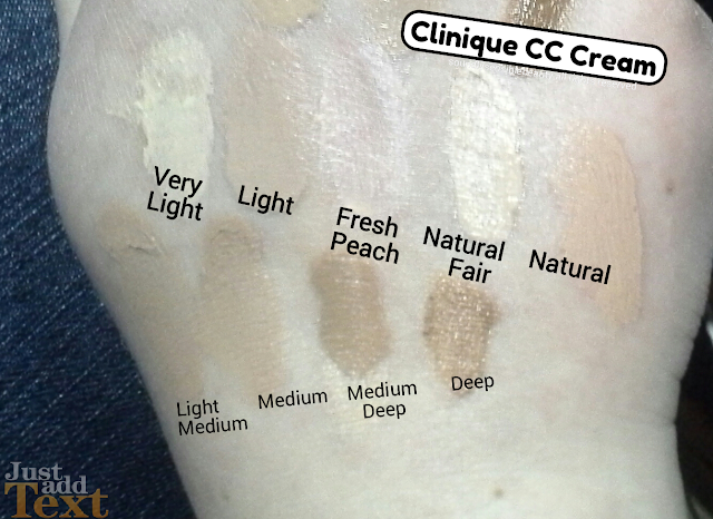 Clinique CC Cream; Moisture Surge, Hydrating Colour (Color) Corrector SPF 30; Review & Swatches of Shades Very Light, Light, Fresh Peach, Natural, Natural Fair, Light Medium, Medium, Medium Deep, Deep