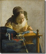 Johannes Vermeer. The Lacemaker. c.1669-1670. Oil on canvas, 23.9 x 20.5 cm. &#10;