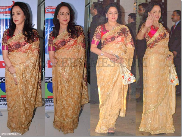 Hema_Malini_Orange_Embroidery_Saree