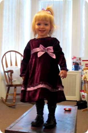 Elaine's purple velvet dress from Grandma Paul