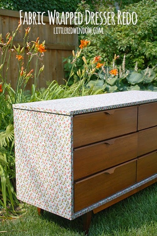 fabric wrapped dresser