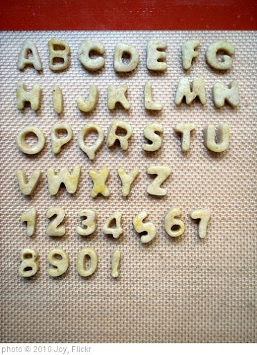 'Alphabet crackers' photo (c) 2010, Joy - license: http://creativecommons.org/licenses/by/2.0/