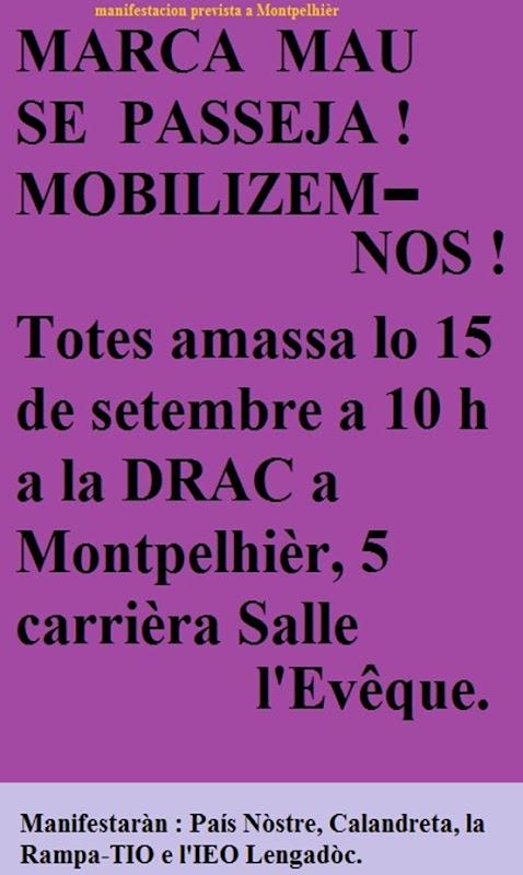 manifestacion a la DRAC de Montpelhièr