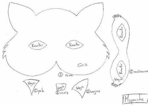 Molde para hacer mascara de lobo - Imagui